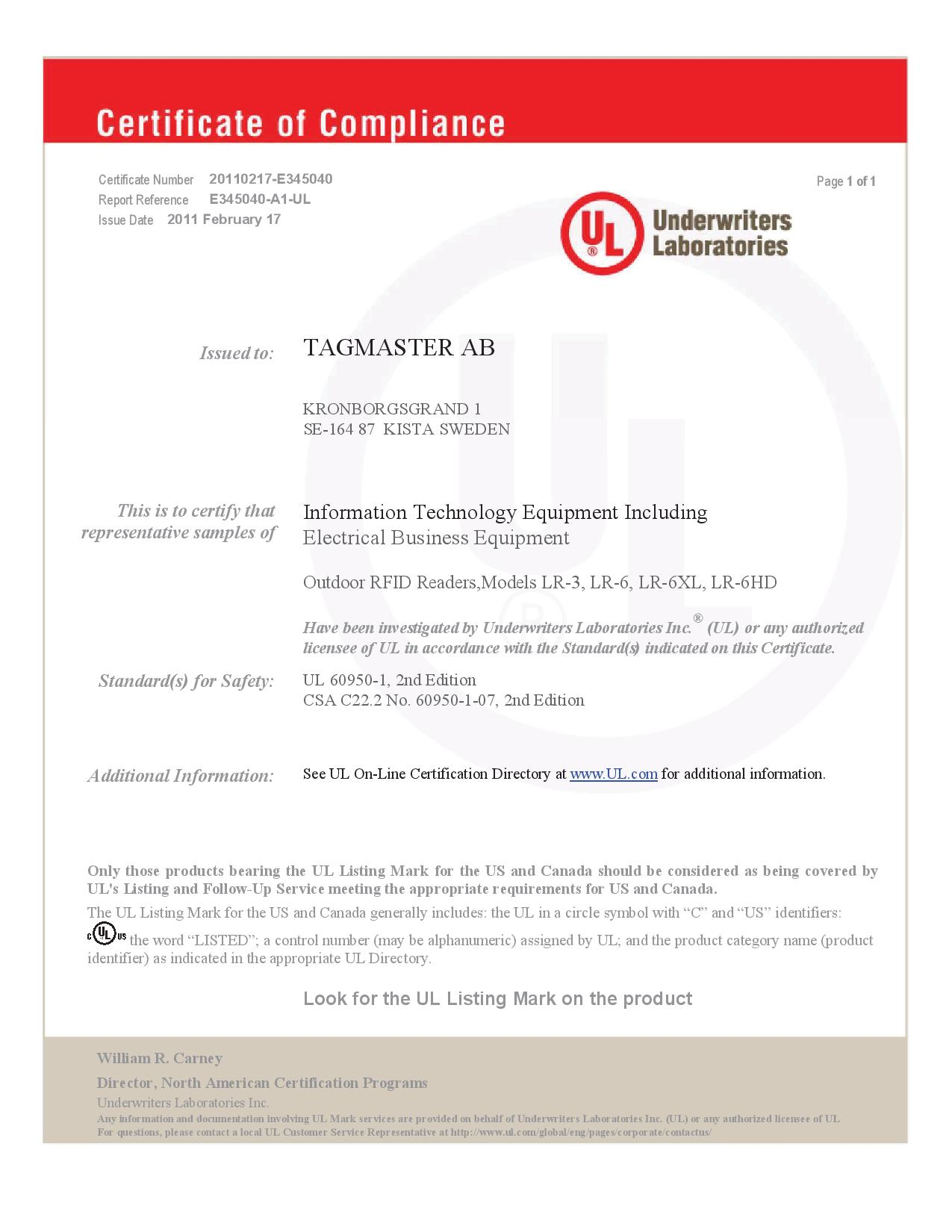 Ul Certificate Of Compliance Identification Solutions Long Range