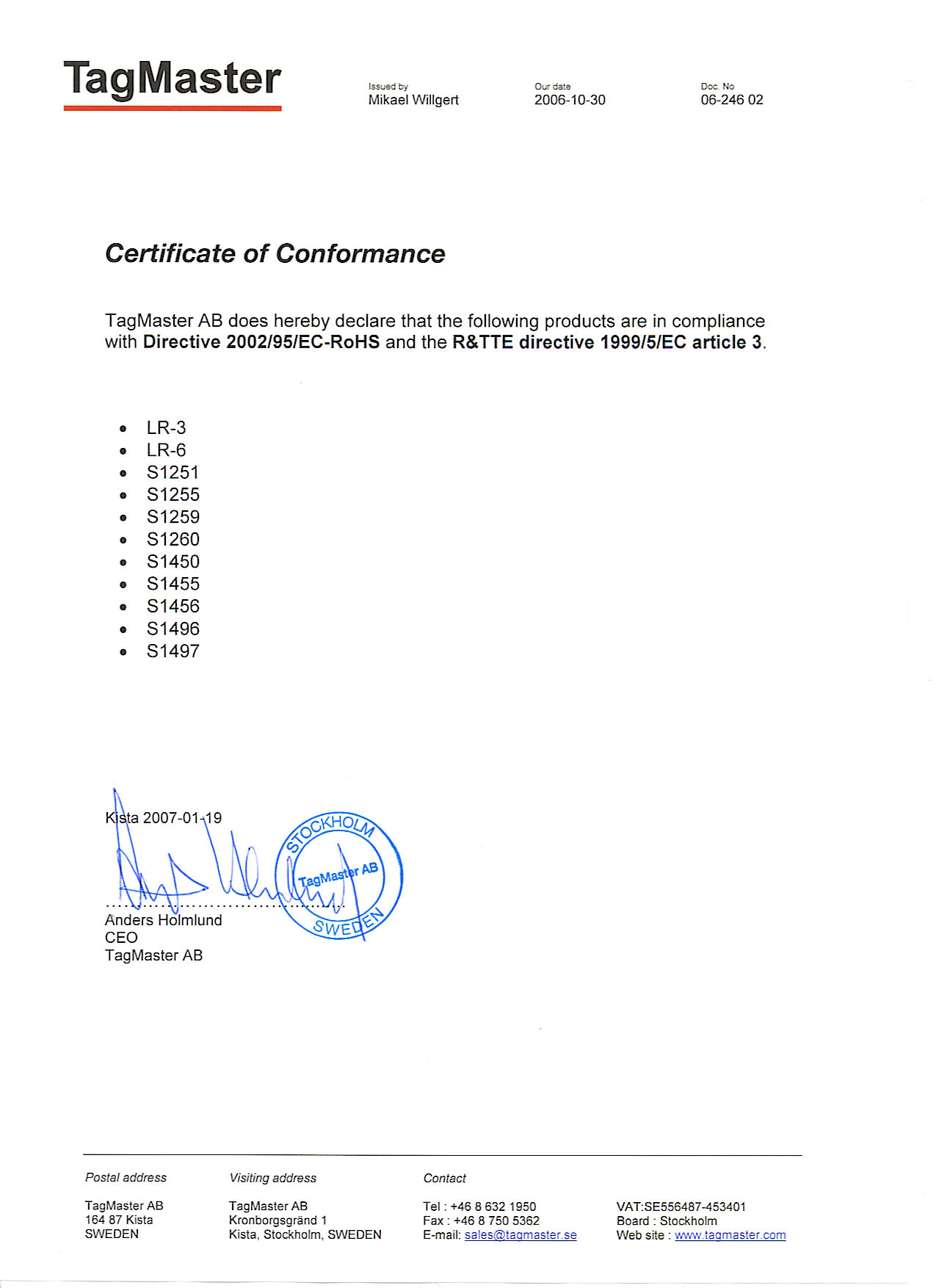 Certificate Of Conformance With Rohs Directive Advanced